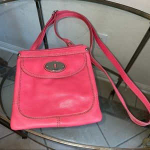 Fossil pink leather small crossbody purse keyhole
